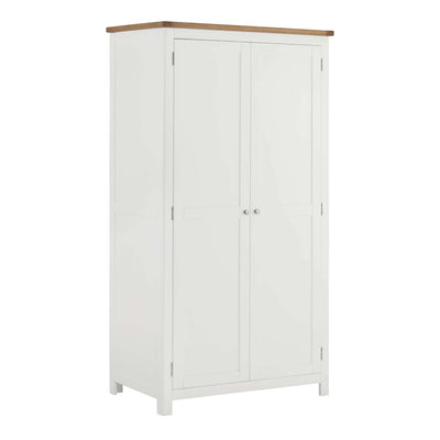 The Padstow White Large Bedroom Wardrobe with Oak Top from Roseland Furniture
