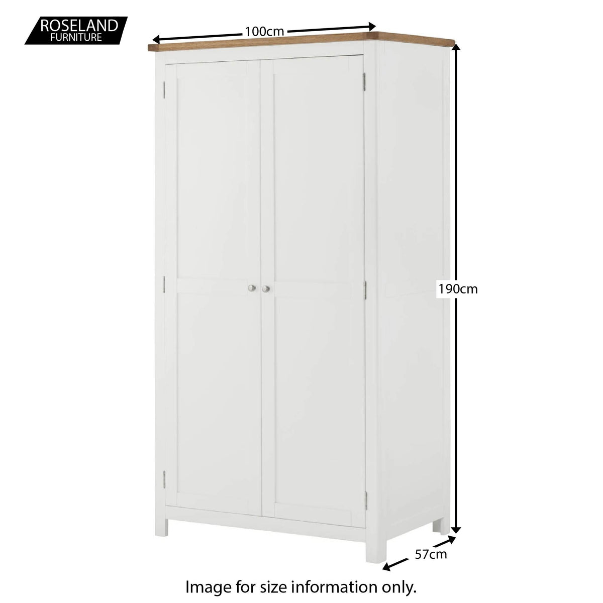 Padstow White Double Wardrobe - Size Guide