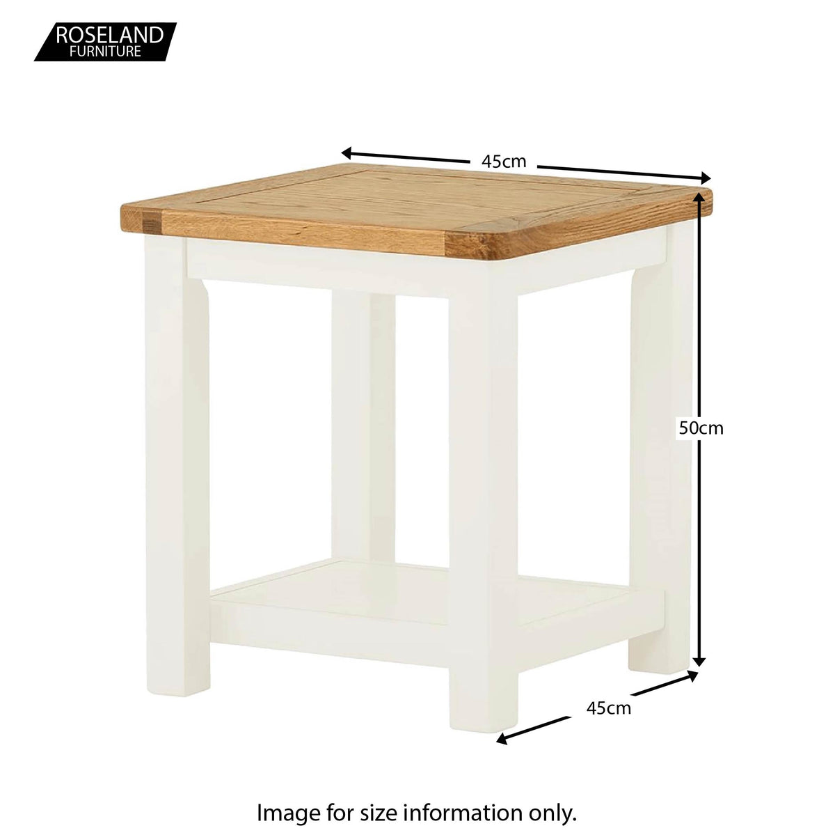 Padstow White Lamp/Side Table - Size Guide