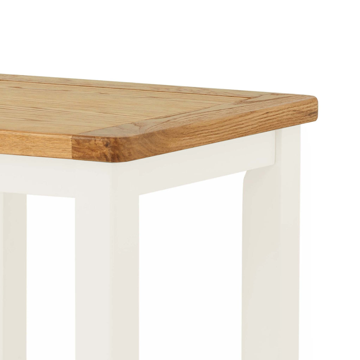 The Padstow White Small Wooden Side Lamp Table - Close Up of Oak Top