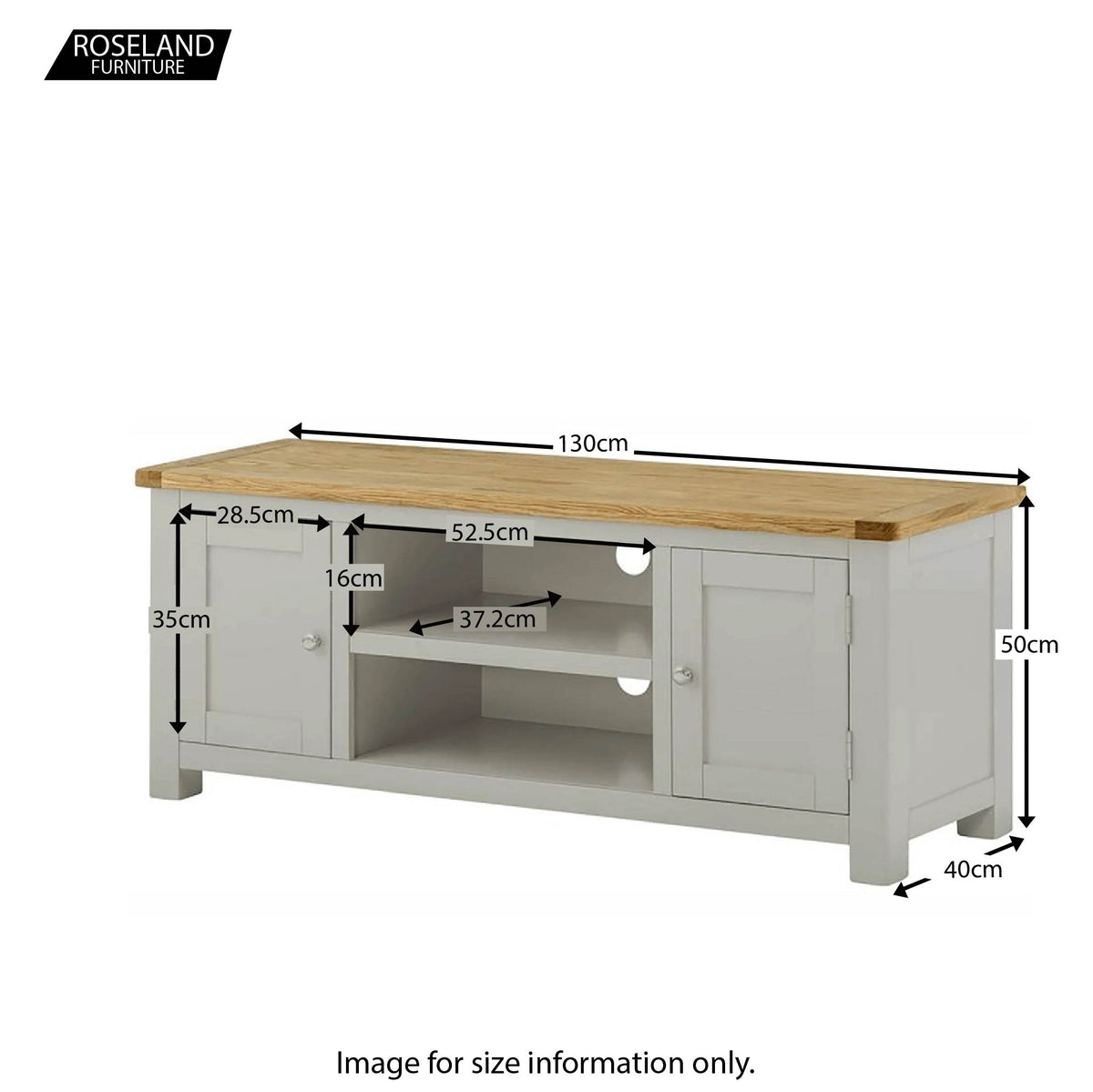 Padstow Grey 130cm TV Stand - Dize Guide