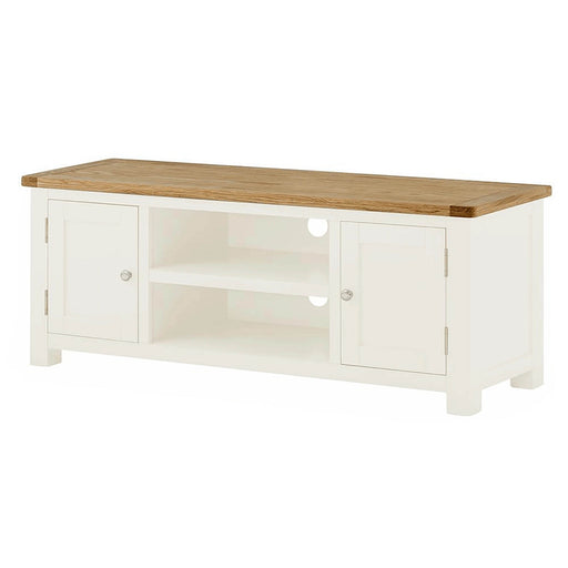 The Padstow White Wooden TV Stand Storage Cabinet from Roseland Furniture