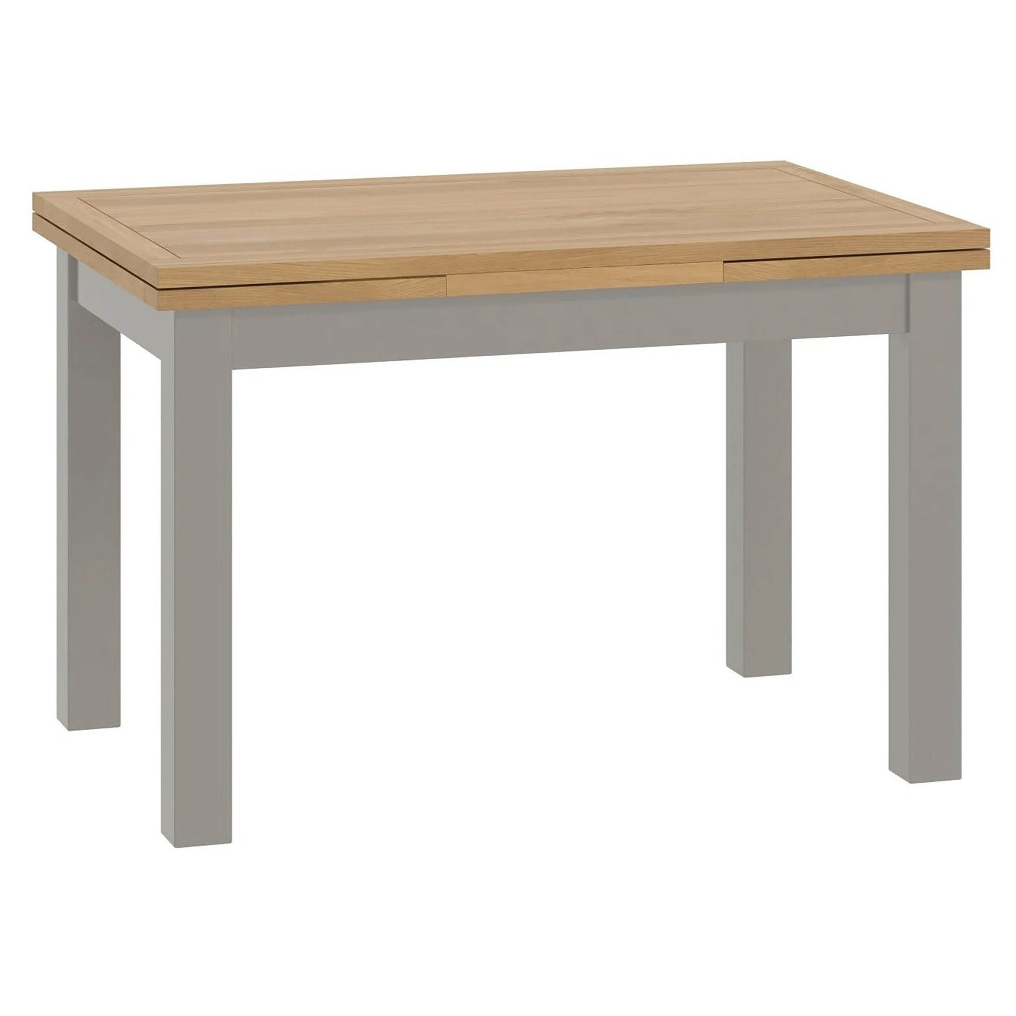The Padstow Grey Lift top Draw Leaf Extending Dining Table with Oak Top 120-200cm from Roseland Furniture