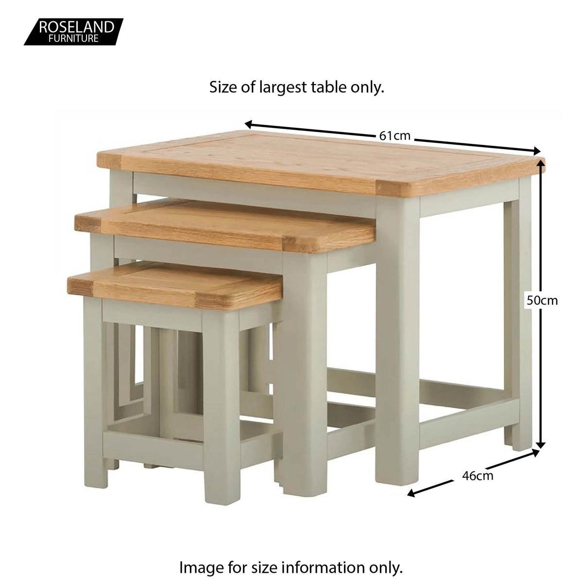 Padstow Grey Nest of Tables - Size Guide