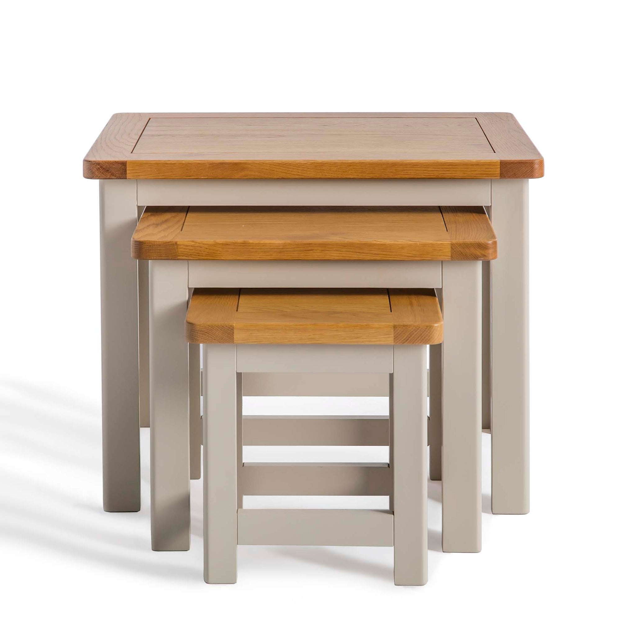 Padstow Grey Nest of 3 Tables with Oak Tops by Roseland Furniture