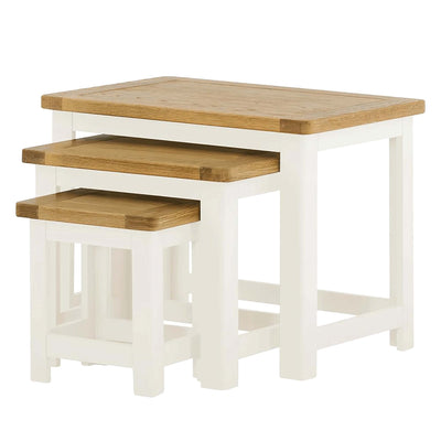 Padstow White Wooden Nest of Tables from Roseland Furniture