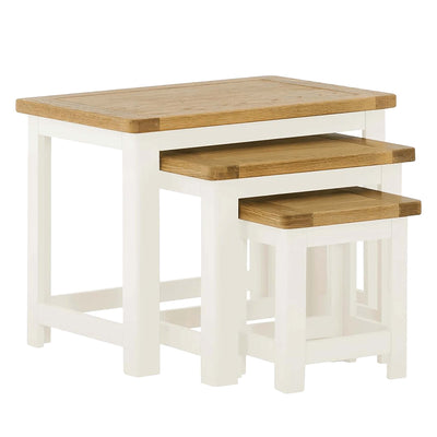 The Padstow White 3 Nesting Tables with Oak Tops from Roseland Furniture