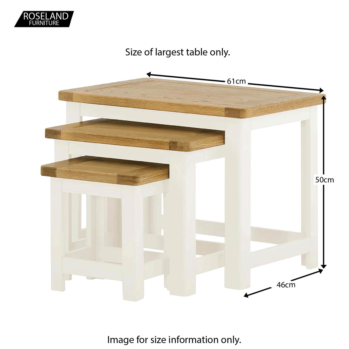 Padstow White Wooden Nest of Tables - Size Guide