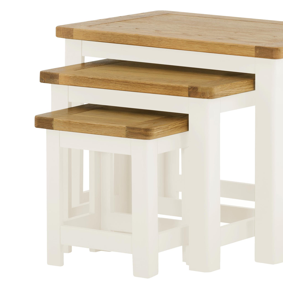 Padstow White Wooden Nest of Tables - Close Up of Oak Table Tops