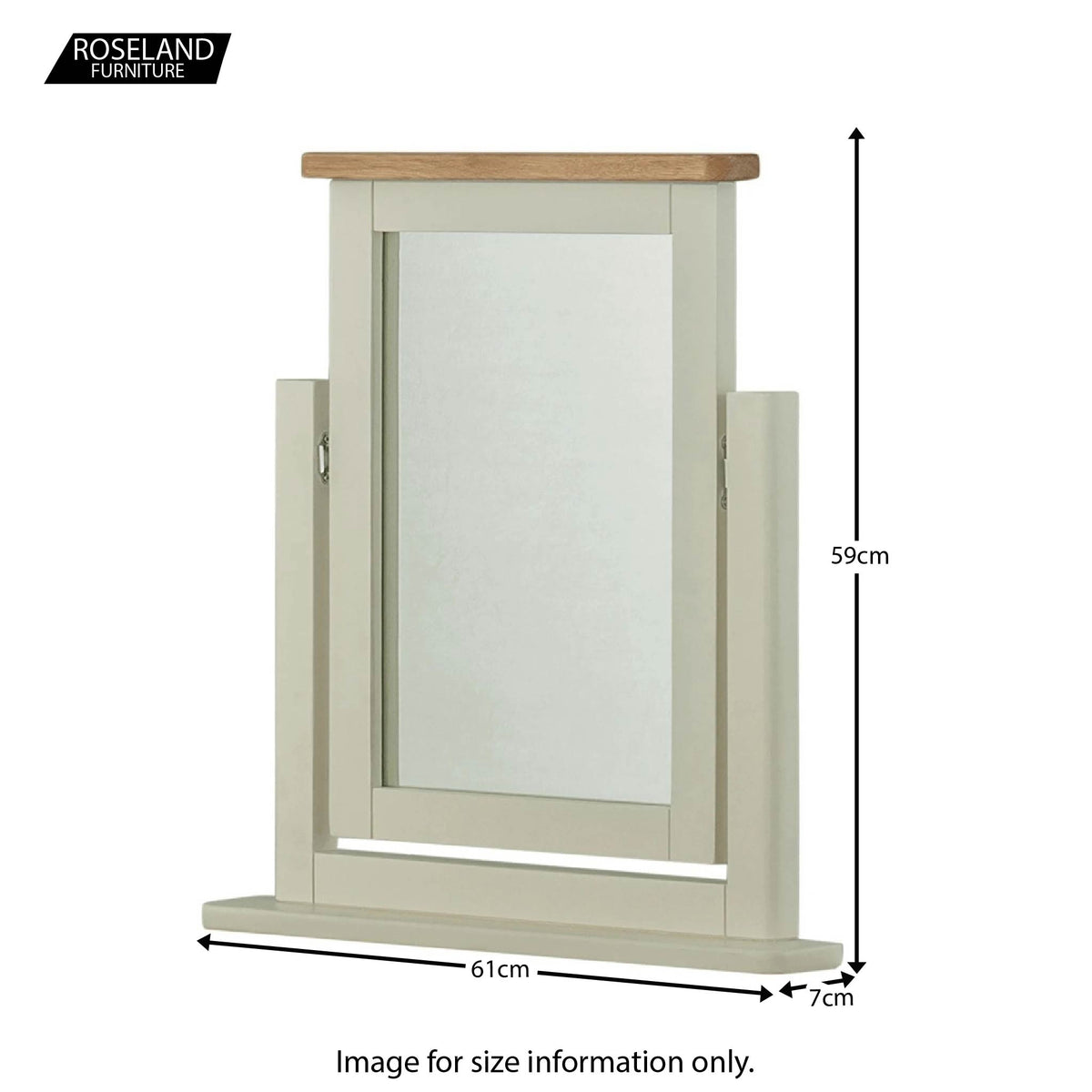 Padstow Grey Dressing Table Mirror - Size Guide