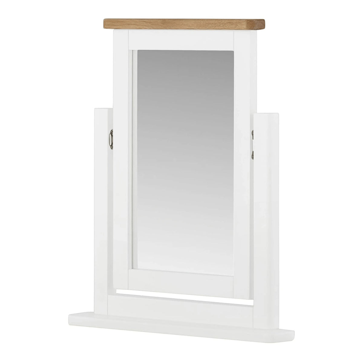 The Padstow White Wooden Swivel Vanity Mirror from Roseland Furniture