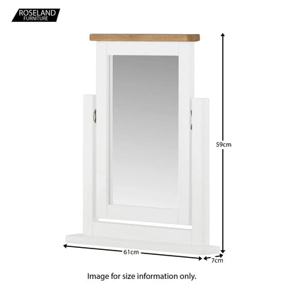 Padstow White Dressing Table Mirror - Size Guide