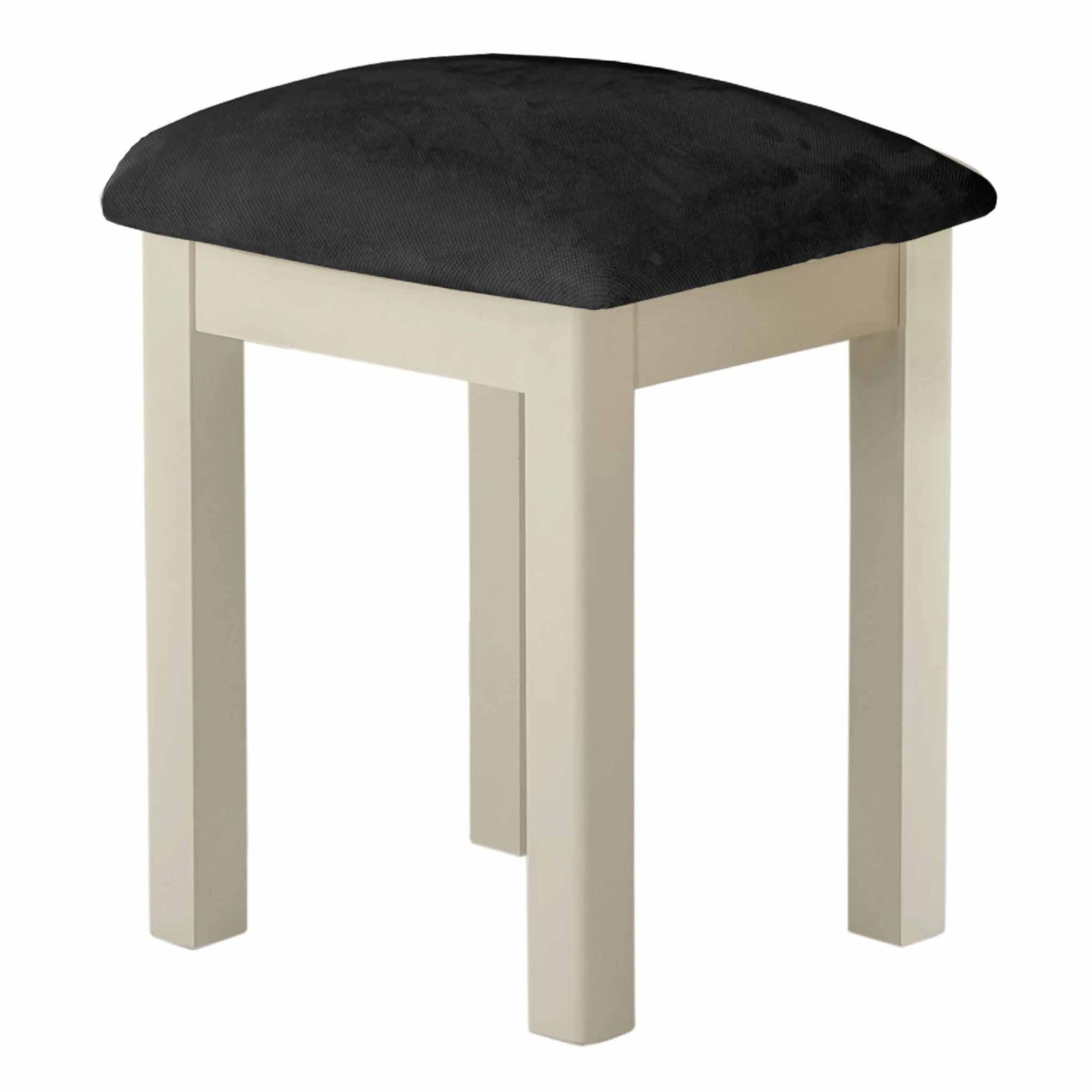 The Padstow Cream Small Wooden Dining Stool with Padded Seat from Roseland Furniture