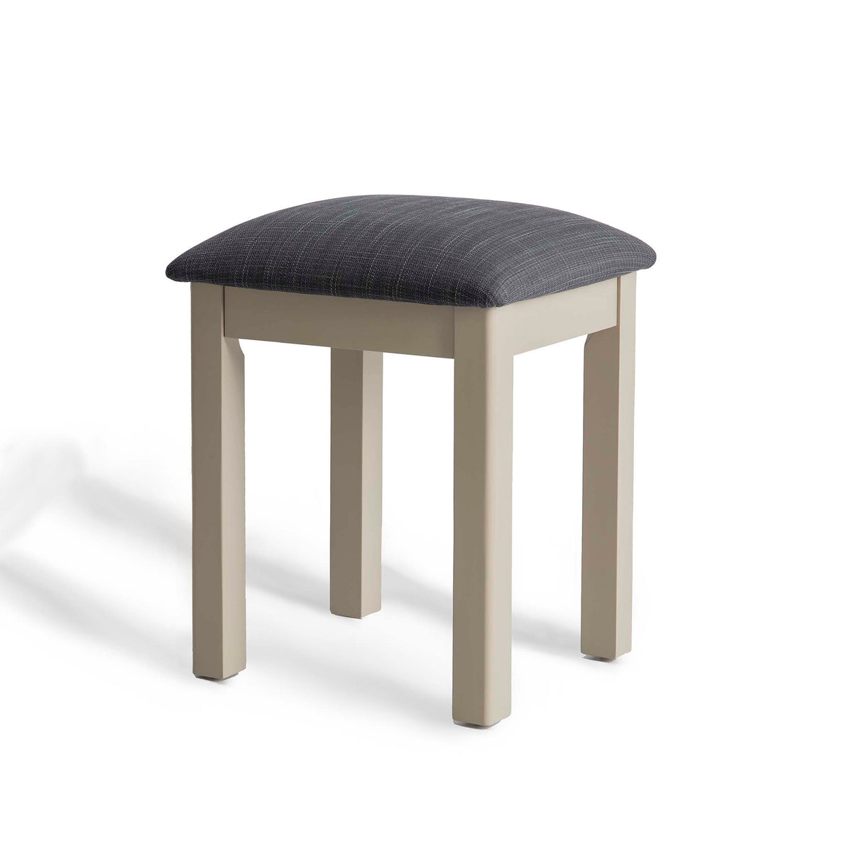 The Padstow Stone Grey Dressing Table Stool  - Side view