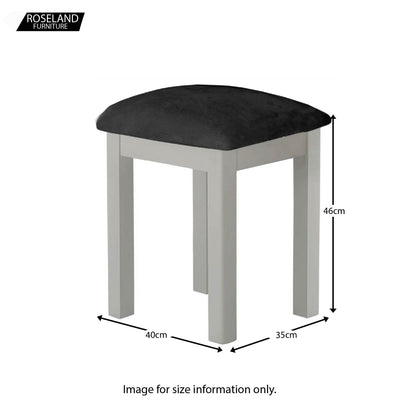 Padstow Grey Dressing Table Stool - Size Guide