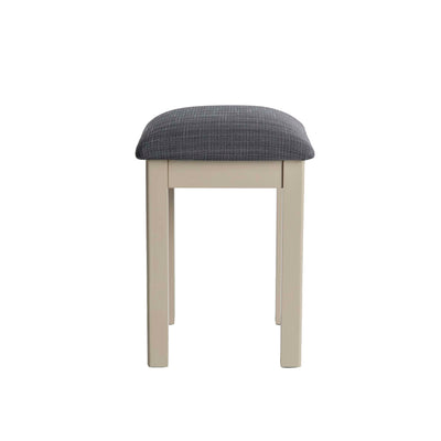 The Padstow Stone Grey Dressing Table Stool  - No Background