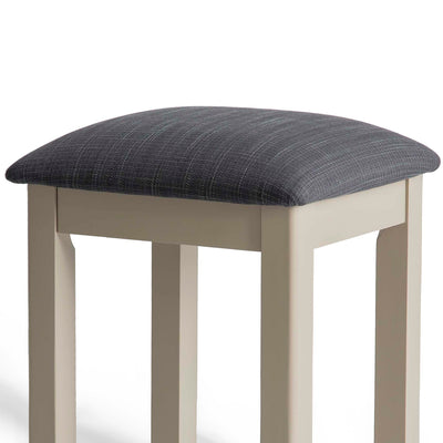 The Padstow Stone Grey Dressing Table Stool  - Close up of Seat