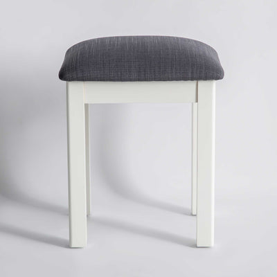 front view of The Padstow White Wooden Dressing Stool with Padded Seat