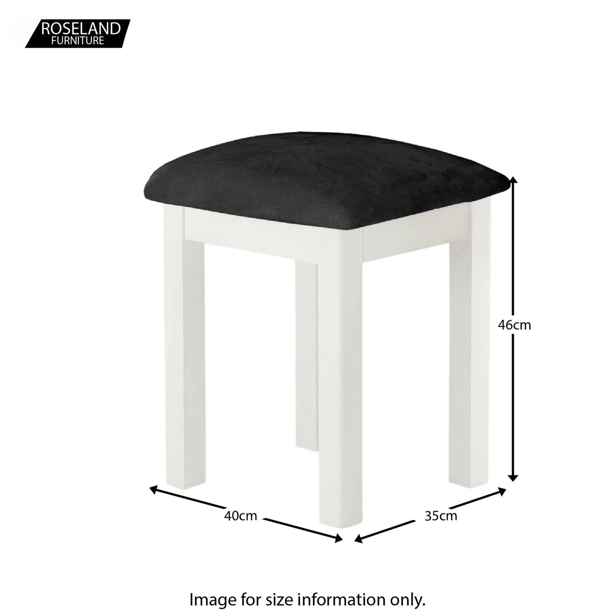 Padstow White Dressing Stool with Padded Seat - Size Guide