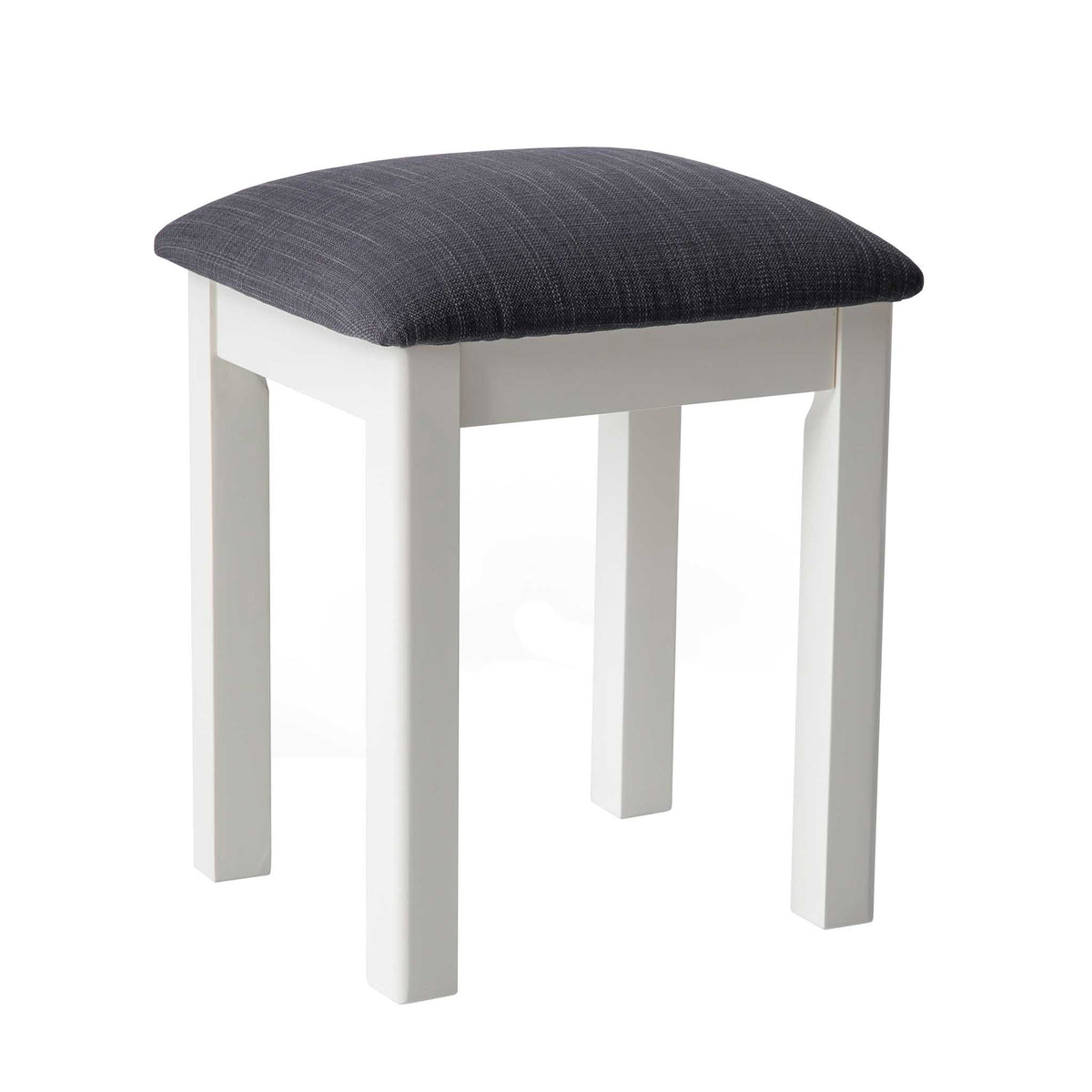 The Padstow White Wooden Dressing Stool with Padded Seat from Roseland Furniture