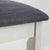 close up of padded seat and wooden frame on The Padstow White Wooden Dressing Stool