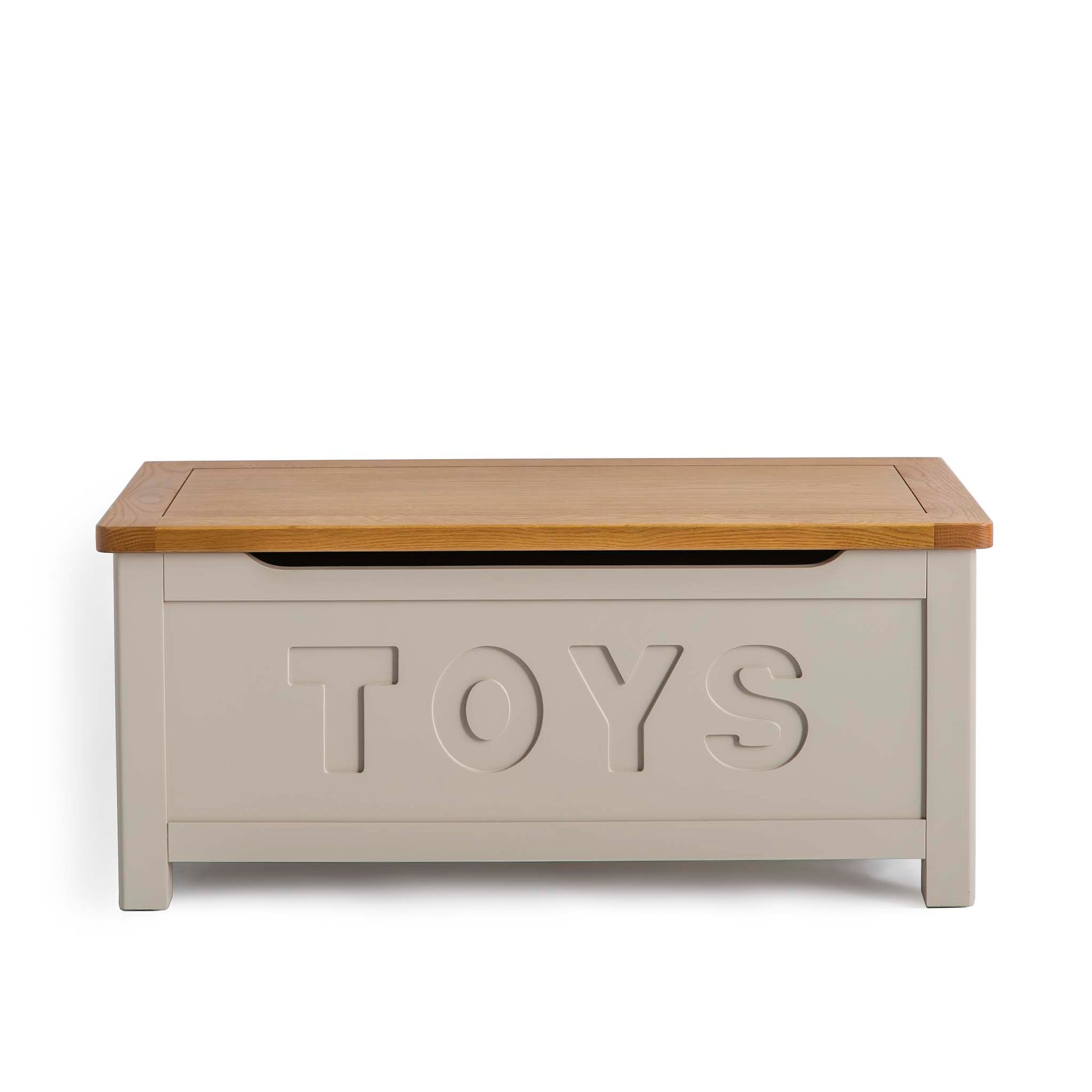 Padstow Stone Grey Toy Storage Box with Oak Top by Roseland Furniture