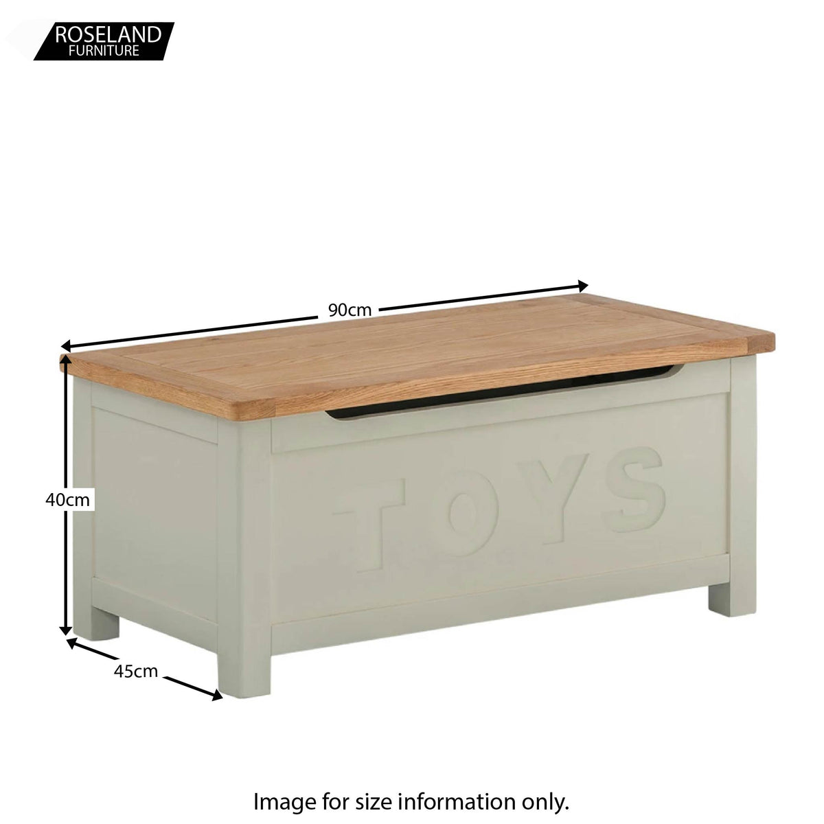 Padstow Grey Toy Box - Size Guide