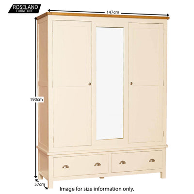 Padstow Cream Triple Wardrobe - Size Guide