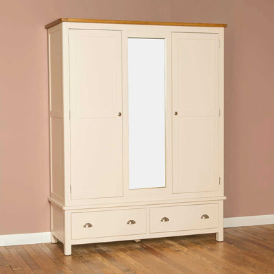 The Padstow Cream Large 3 Door Wardrobe with Mirror from Roseland Furniture