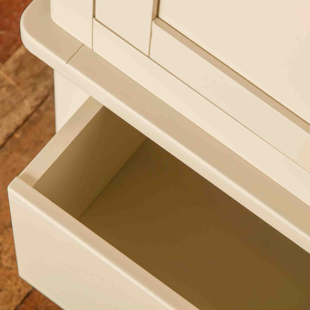 Open drawer view of The Padstow Cream Large 3 Door Wardrobe