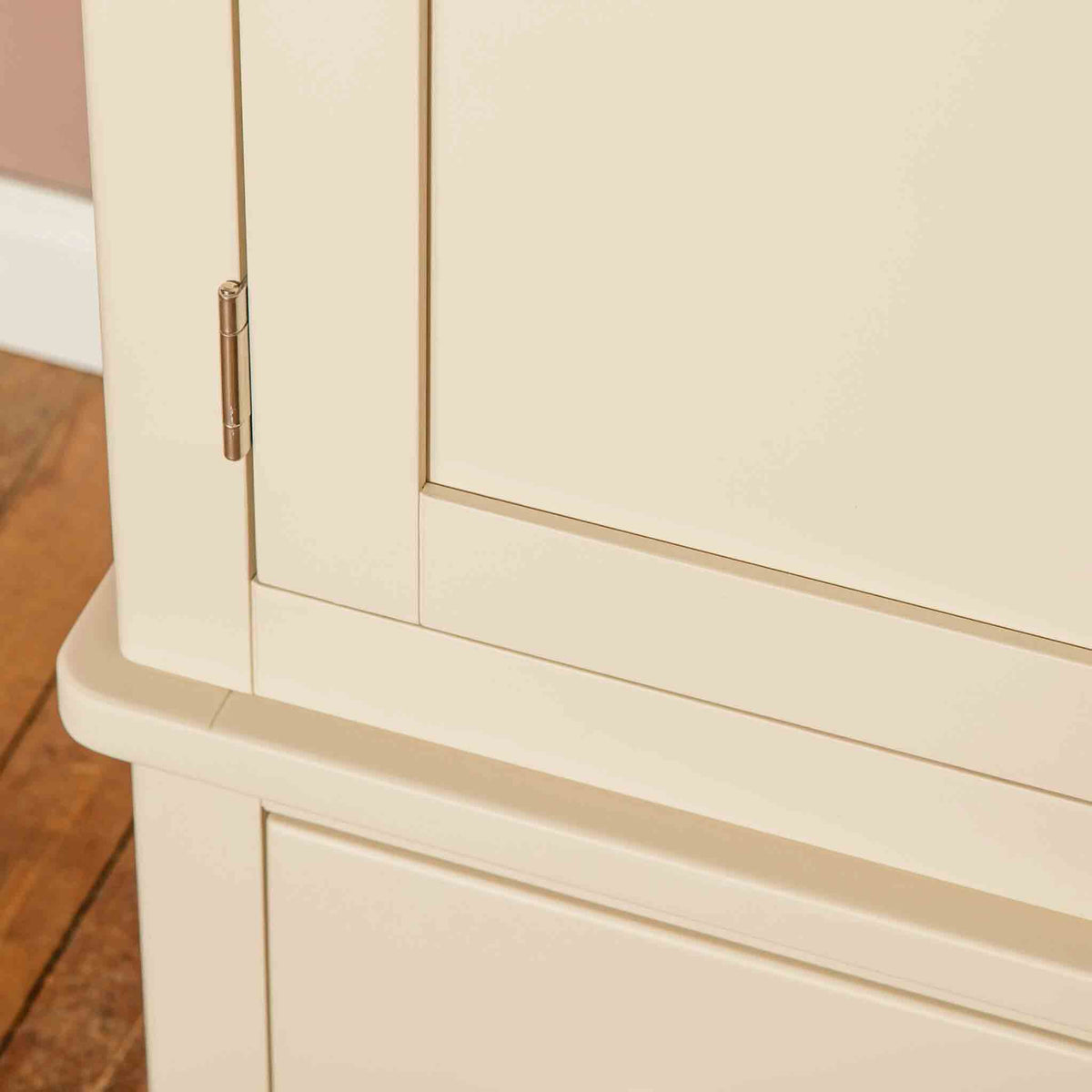 Close up of cross section on The Padstow Cream Large 3 Door Wardrobe
