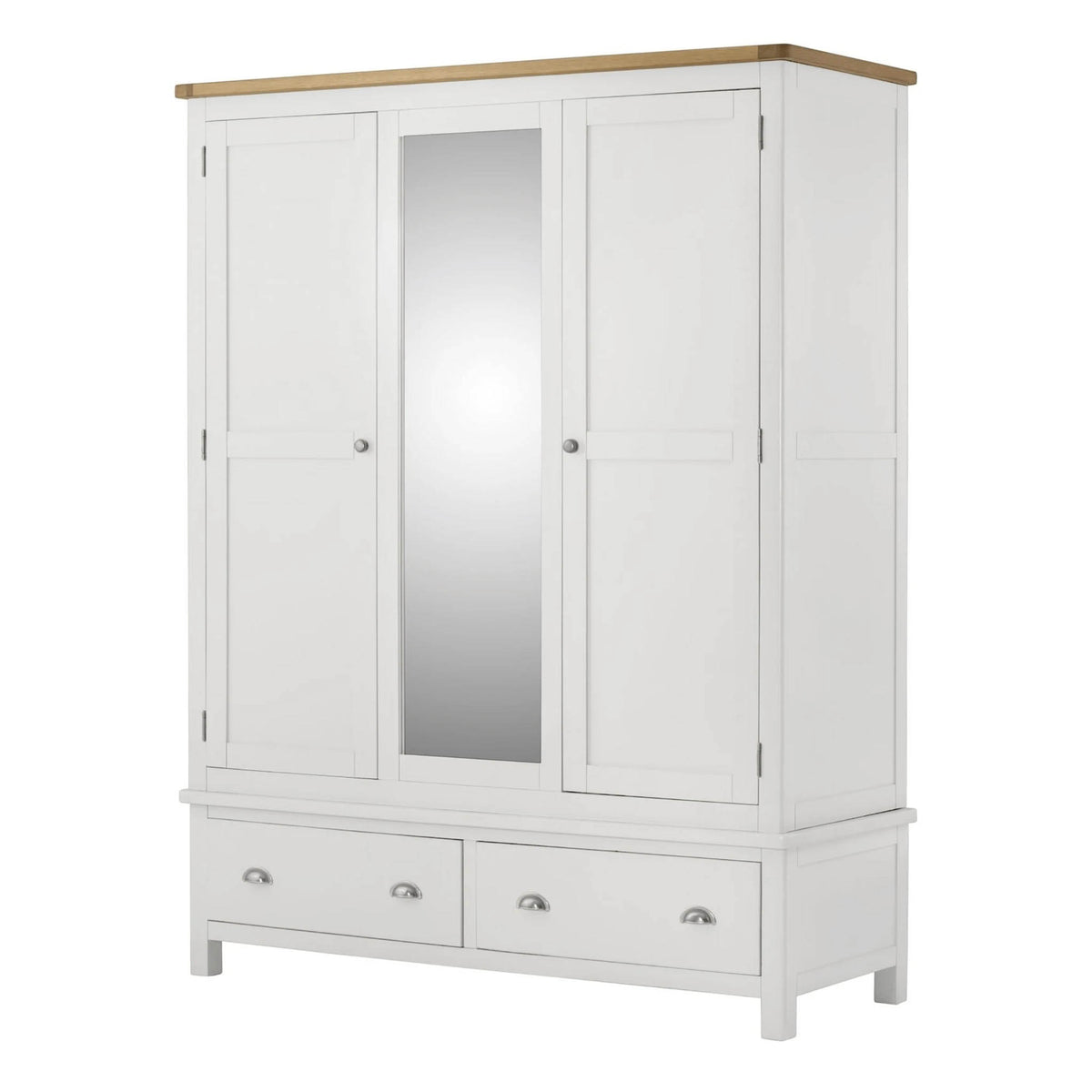 The Padstow White Large Wooden Triple Wardrobe with Mirror from Roseland Furniture