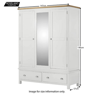Padstow White Triple Wardrobe with Mirror - Size Guide