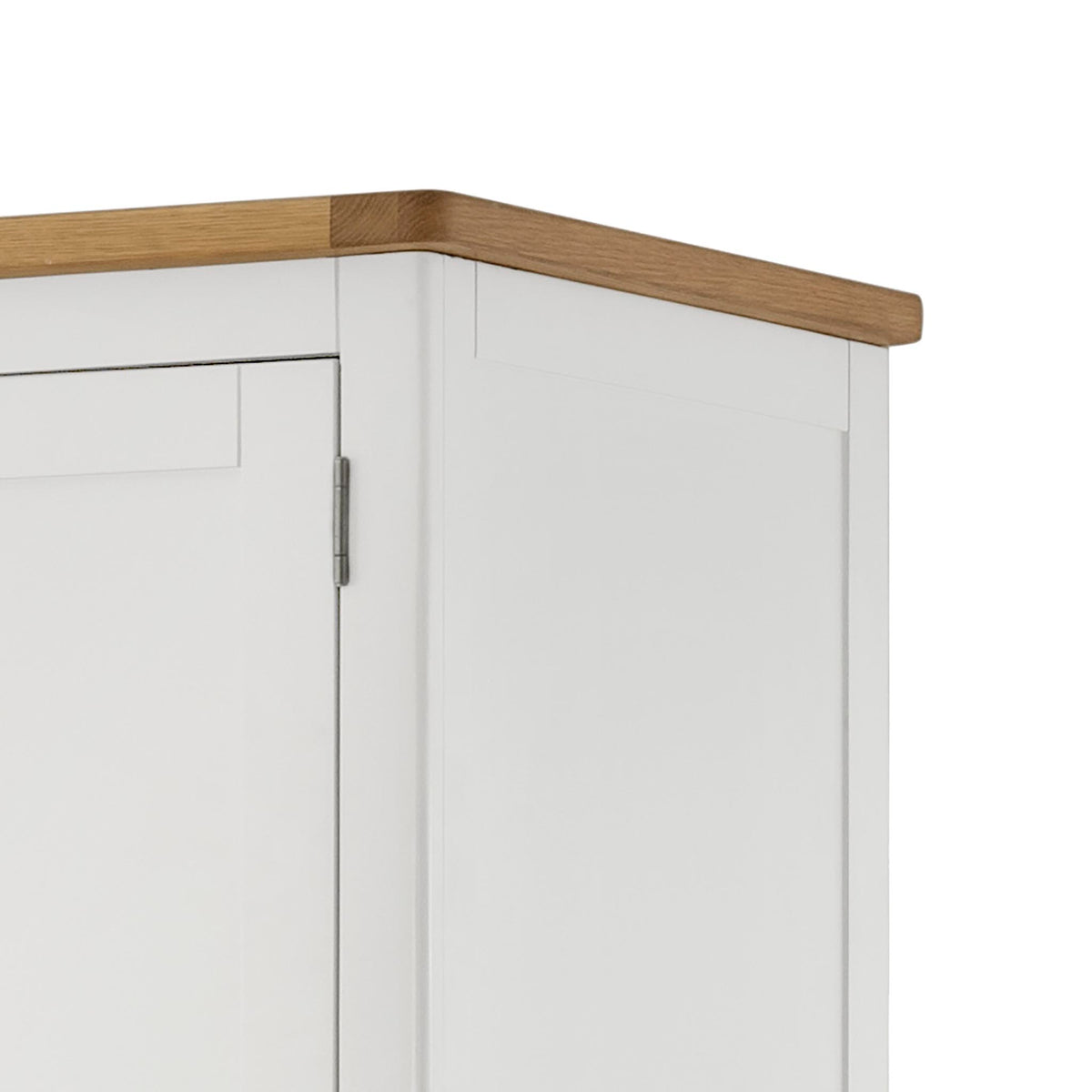 The Padstow White Triple Wardrobe - Close Up of Oak Top