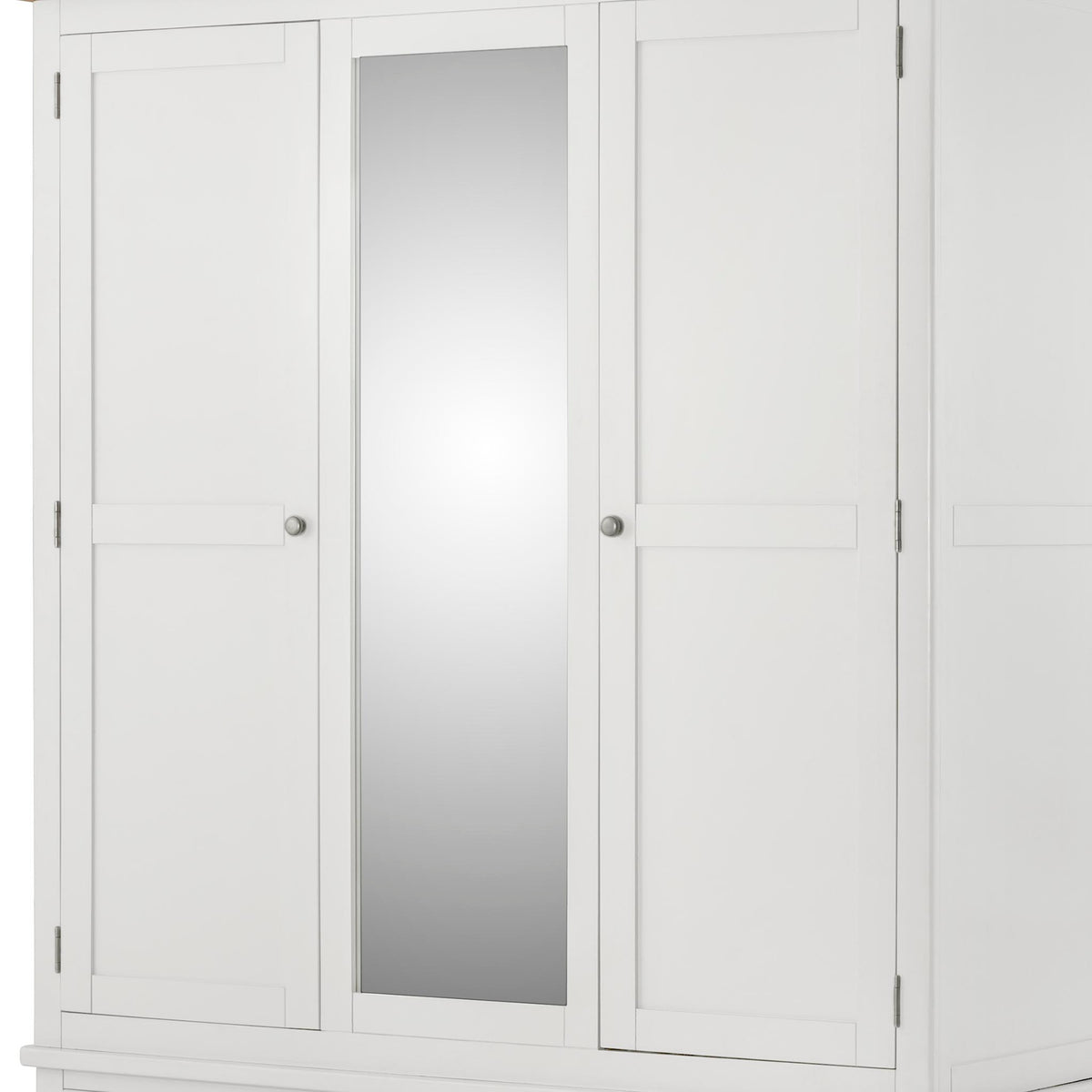The Padstow White Triple Wardrobe - Close Up of Wardrobe Doors and Centre Mirror