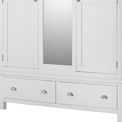 The Padstow White Triple Wardrobe - Close Up of Drawers