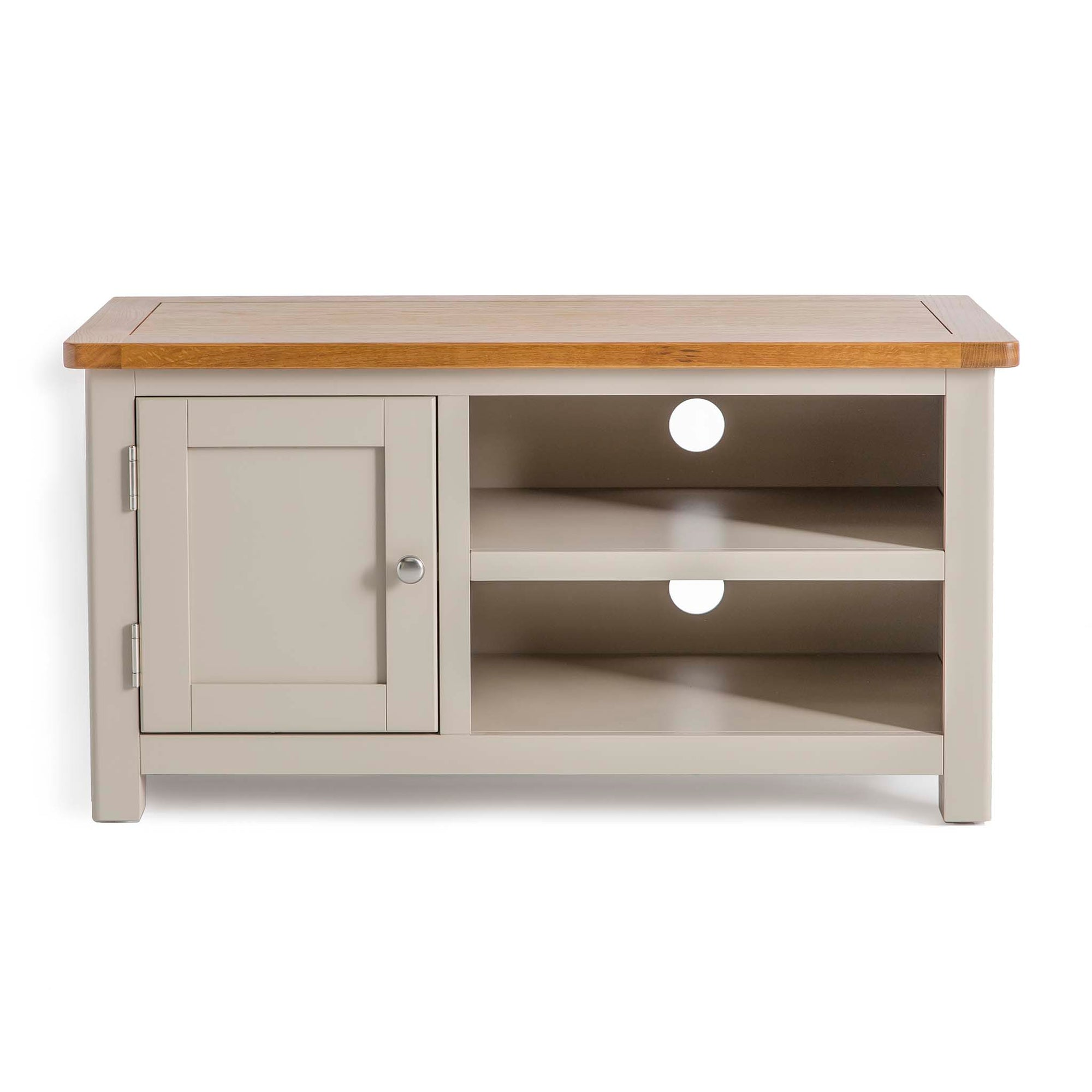 Padstow Stone Grey Small TV Stand with Storage Cabinet by Roseland Furniture