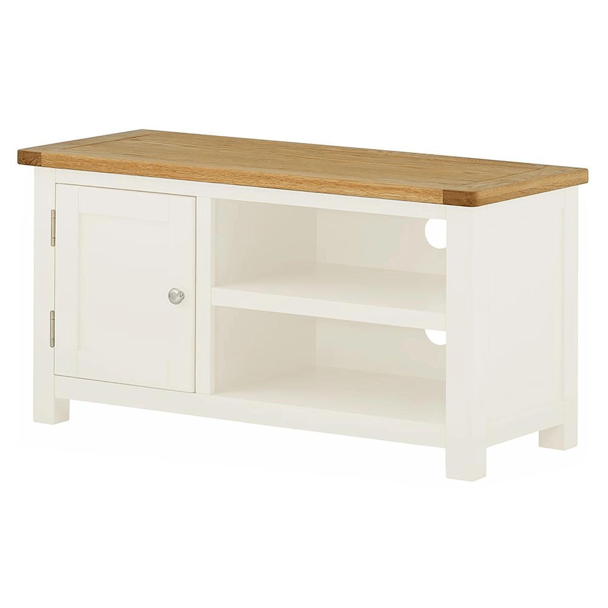 The Padstow White Small Wooden TV Stand Storage Unit from Roseland Furniture