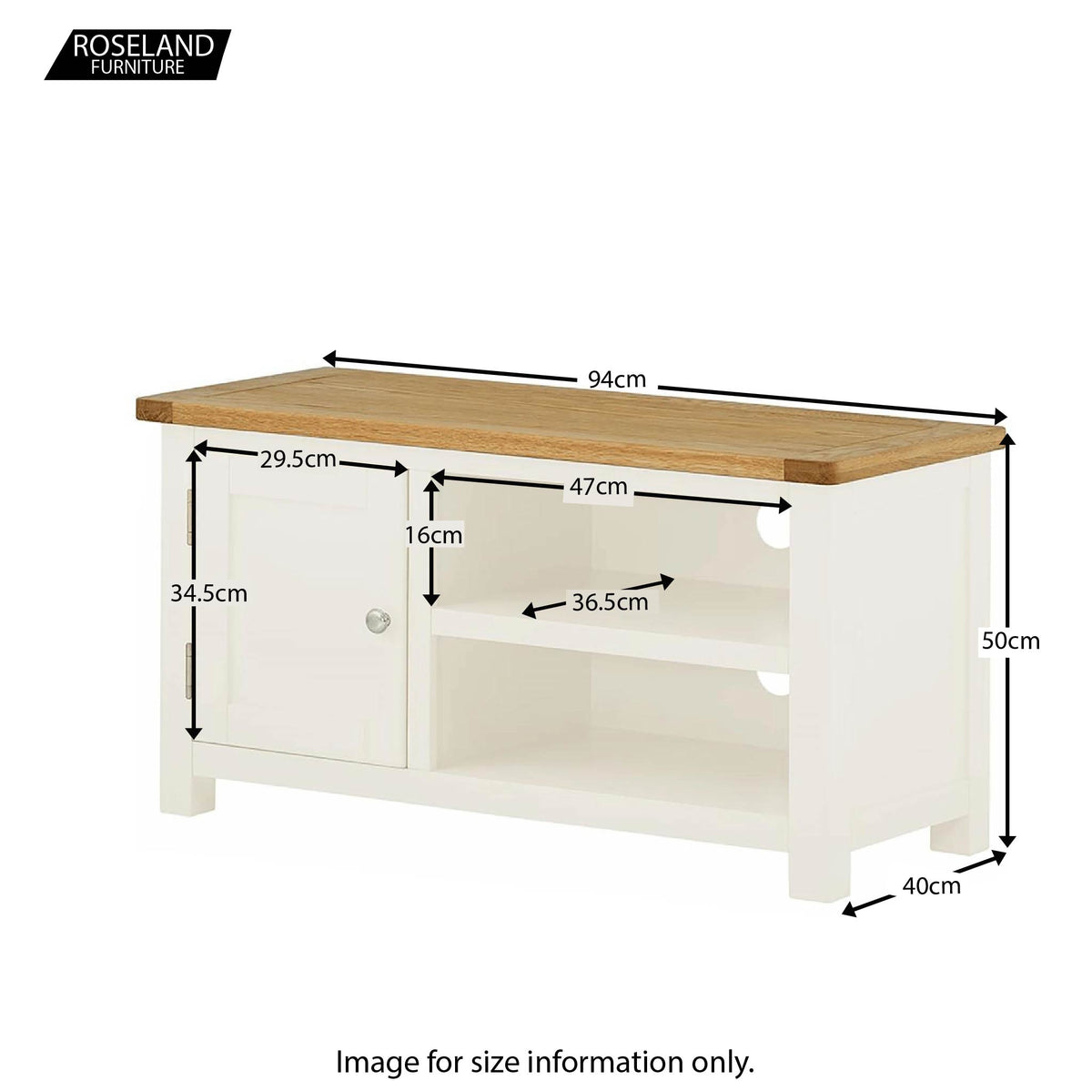 Padstow White 94cm TV Stand - Size Guide