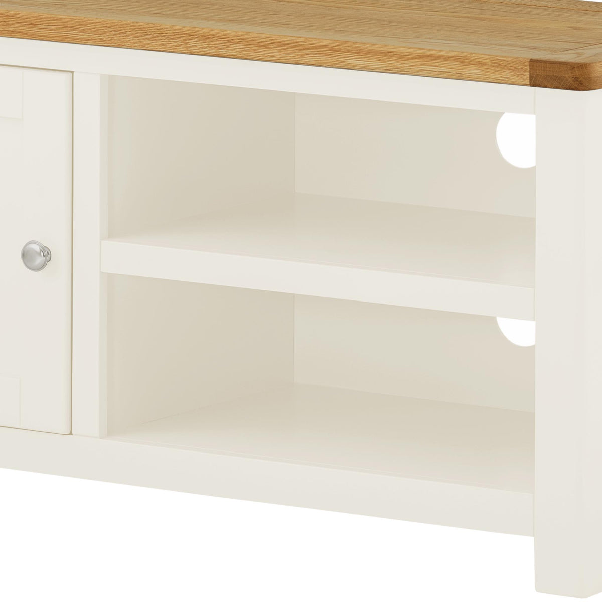 The Padstow White 94cm TV Stand - Close Up of Mid Section Shelving