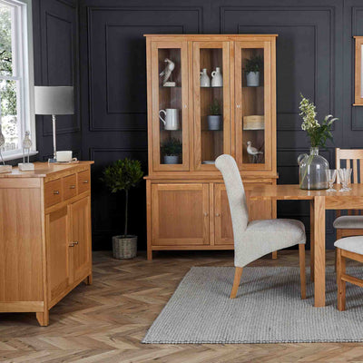 Falmouth Oak Dining Room Lifestyle with Large Display Cabinet