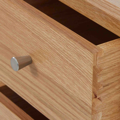 Close up of dovetail drawer on the Falmouth Oak Single Pedestal Dressing Table