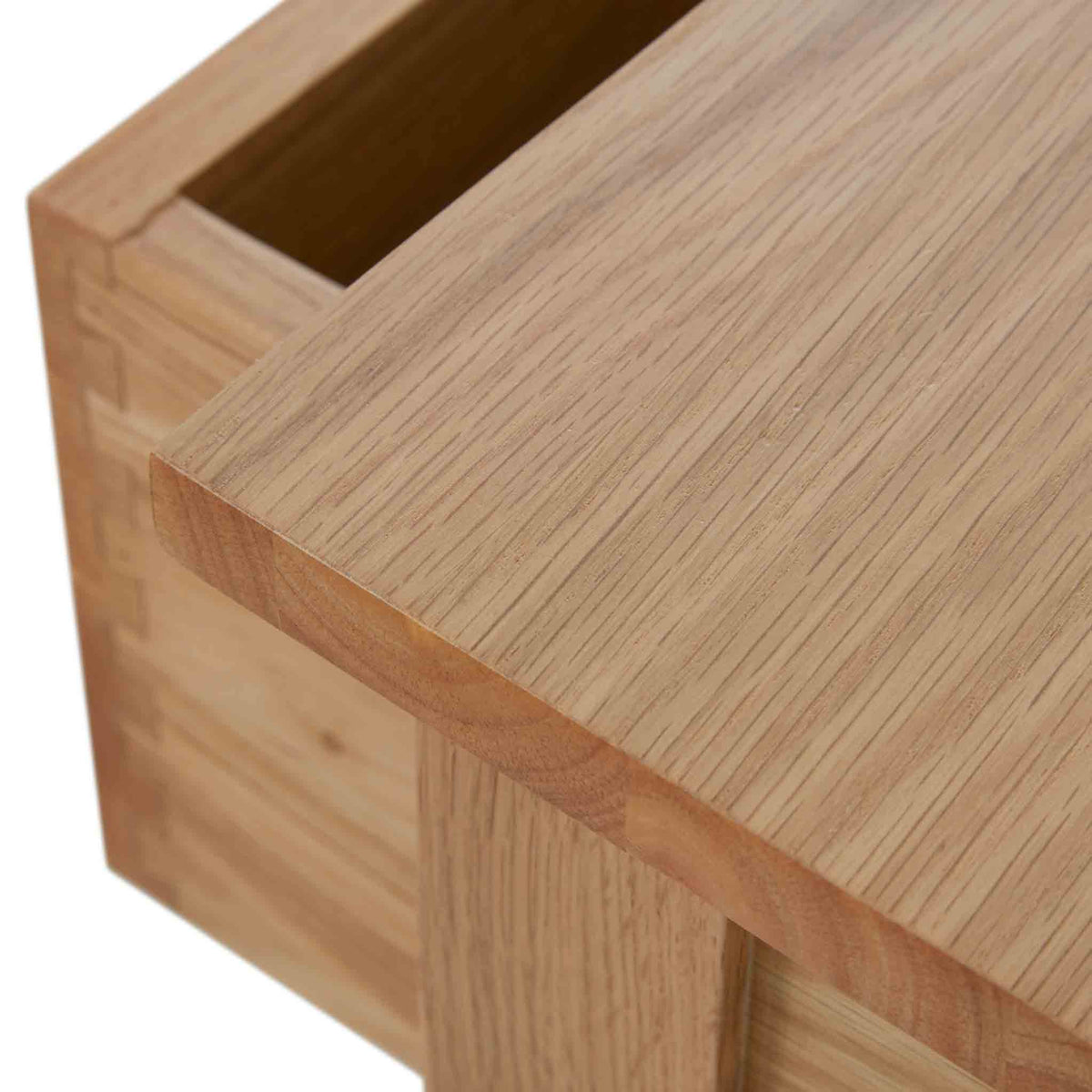 Close up of tabletop on the Falmouth Oak Single Pedestal Dressing Table
