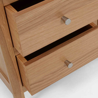 Close up of the drawers on the Side view of the Falmouth Oak Large TV Unit with 4 Drawers