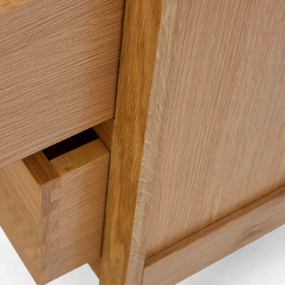 Close up of wooden frame on the Falmouth Oak Single Pedestal Dressing Table