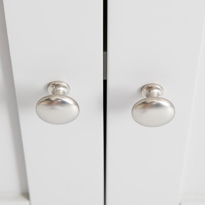Close up of the double door round silver handles on the Farrow Grey Mini Sideboard