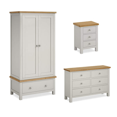 Farrow Grey Bedroom Set: Double Wardrobe, 6 Drawer Chest & Bedside Table