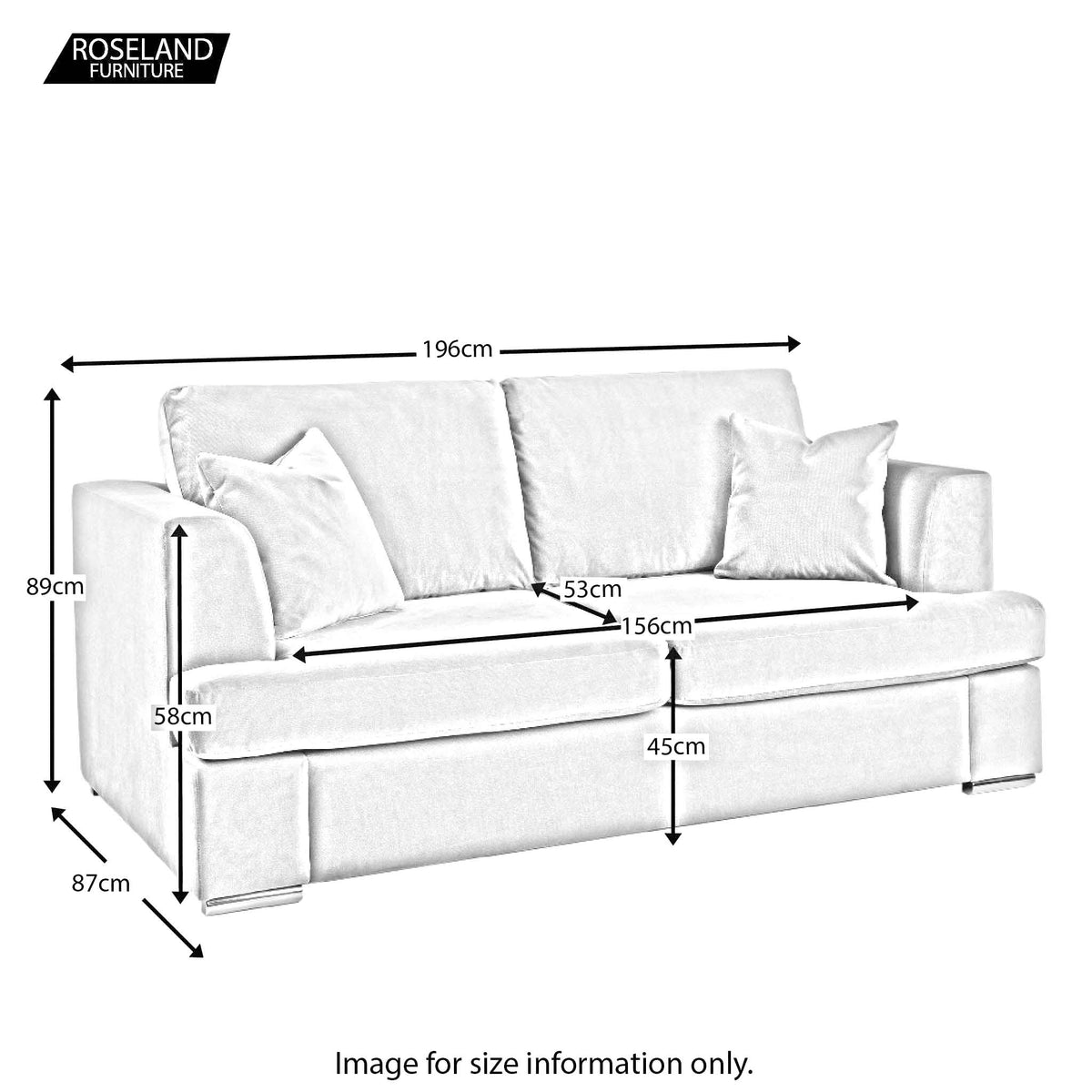 Felice 3 Seater Sofa - Size Guide