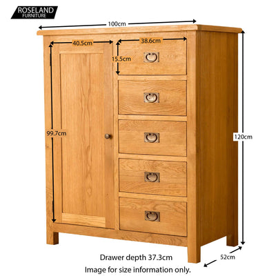 Lanner Oak Combination Wardrobe - Size Guide