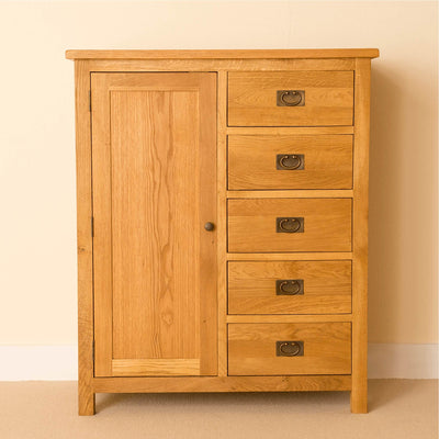 Lanner Oak Combination Wardrobe front view